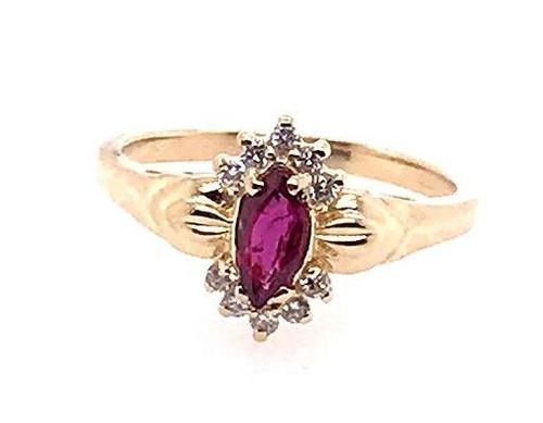 Ruby Diamond Cocktail Statement Ring .70ct 14K Gold Birthstone