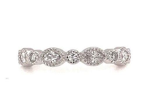 Modern Diamond Jewelry Brand New Diamond Anniversary Band Wedding Ring .35ct Marquise 14K White Gold