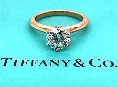 Tiffany and Co Engagement Ring 1.34ct I/VS1 RBC Diamond Solitaire 18K Rose Gold