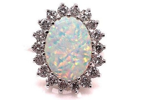 Giant Fiery Opal Diamond 1ct Cocktail Statement Ring 14K White Gold
