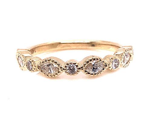 Diamond Anniversary Band Wedding Ring .43ct Marquise 14K Yellow Gold Brand New