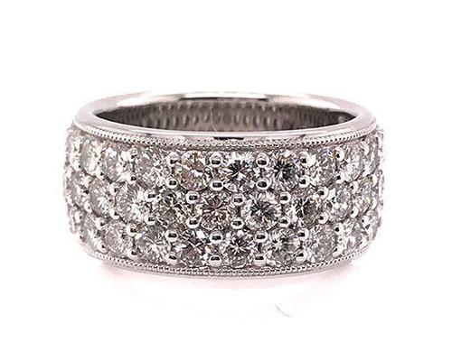 Modern Diamond Jewelry Anniversary Ring Diamond Band 3 Row 2.45ct 18K White Gold Brand New