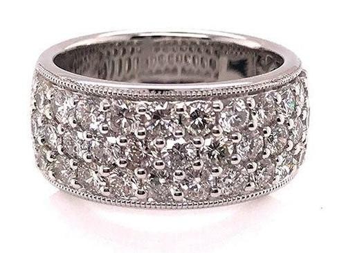 Anniversary Ring Diamond Band 3 Row 2.15ct 18K White Gold Brand New