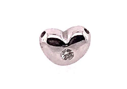 Diamond Heart Slide Pendant Necklace 14K White Gold