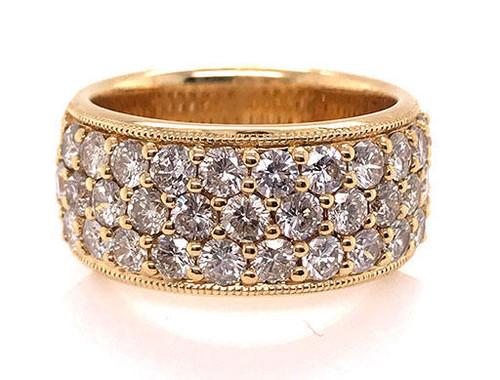 Modern Diamond Jewelry Anniversary Ring Diamond Band 3 Row 2.40ct 18K Yellow Gold Brand New