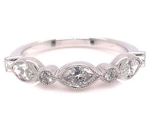 Modern Diamond Jewelry Diamond Anniversary Band Stackabloe Wedding Ring .74ct Marquise 14K Brand New