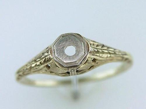 Vintage Antique 14K Yellow Gold Art Deco Semi Mount Engagement Ring NEVER WORN