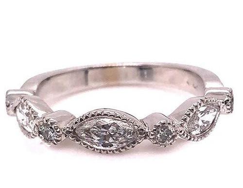 Modern Diamond Jewelry Diamond Anniversary Band Stackable Wedding Ring .83ct Marquise 14K Brand New