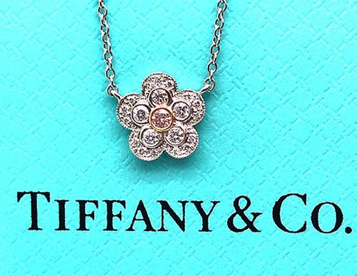 Tiffany & Co.  Enchant Garden Fancy Pink Diamond Flower Pendant Platinum with 18k Rose Gold