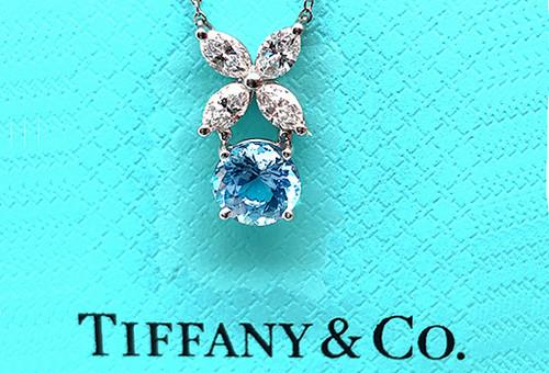 Tiffany & Co. Victoria Aquamarine Diamond Pendant Necklace 1.60ct Platinum