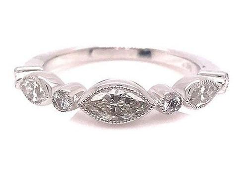 Modern Diamond Jewelry Diamond Anniversary Band Stackable Wedding Ring .77ct Marquise 14K Brand New