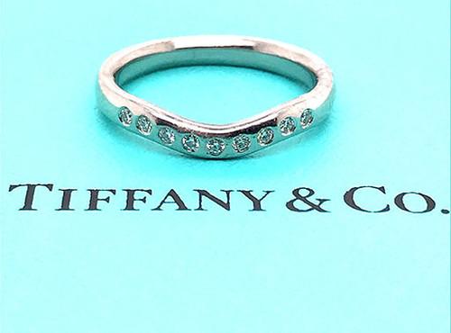 Tiffany & Co Diamond Elsa Peretti Wedding/Anniversary Ring Band .10ct Platinum
