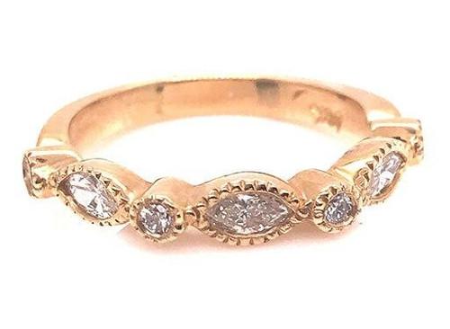 Modern Diamond Jewelry Diamond Anniversary Band Stackable Wedding Ring .55ct Marquise 14K Brand New