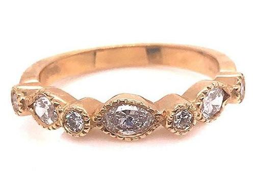 Modern Diamond Jewelry Diamond Anniversary Band Stackable Ring .65ct Marquise 14K Brand New
