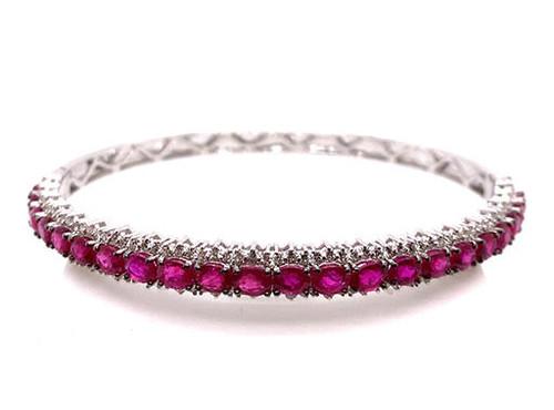 Modern Gemstone Jewelry Ruby Diamond Bangle Bracelet 10.80ct 18K White Gold