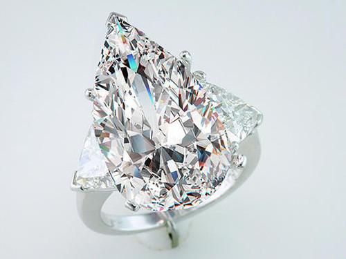 Modern Diamond Ring Pear Cut Diamond Engagement Ring GIA Certified 14.45cttw J-VS2 Platinum
