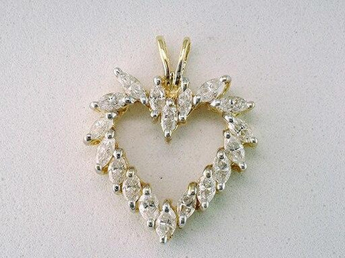 Diamond Heart Pendant 1.25ct Marquise Cut Necklace 14K Yellow Gold