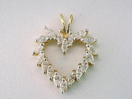 Modern Diamond Jewelry Diamond Heart Pendant 1.25ct Marquise Cut Necklace 14K Yellow Gold