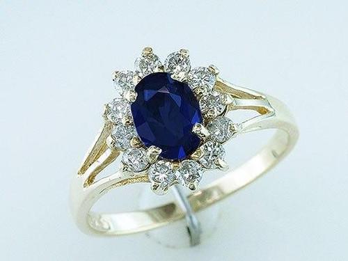Sapphire Engagement Ring 1.50ct Sapphire Diamond 10K Gold Statement Ring