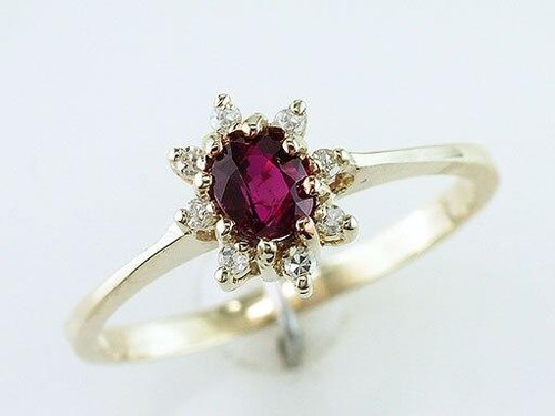 Ruby Diamond Cocktail Engagement Ring .66ct Yellow Gold
