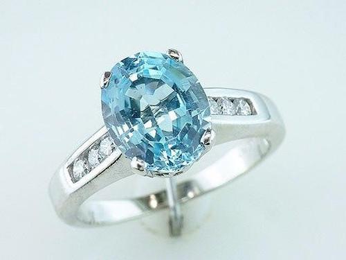 Aquamarine Diamond Cocktail Ring 3.33ct Oval 18K White Gold Birthstone