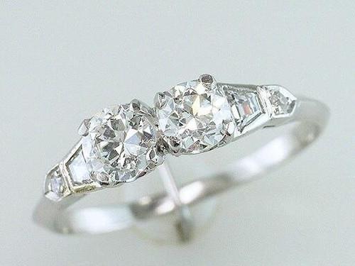 Vintage Diamond Engagement Ring 1.00ct GIA Certified Platinum Antique