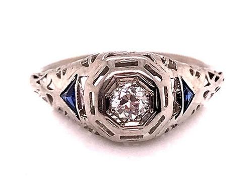 Vintage Diamond French Cut Sapphire Engagement Ring .30ct Antique 18K Deco