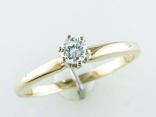 Solitaire Diamond Engagement Ring .20ct 14K Yellow Gold