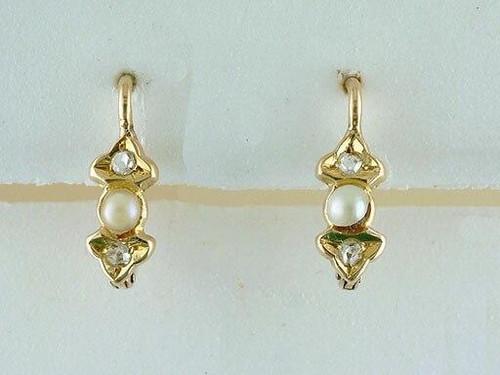 Vintage Diamond Pearl Leverback Earrings Rose Cut 18K Victorian Antique