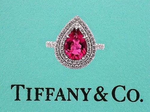 Tiffany and Co Engagement Ring Soleste Platinum Rubellite Diamond 1.95ct