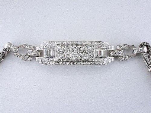 Vintage Diamond Bracelet 2.12ct F-VVS Custom Antique Art Deco