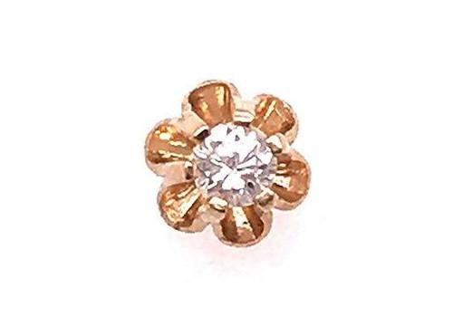 Diamond Single Stud Earring .06ct Round Brilliant 14K Yellow Gold