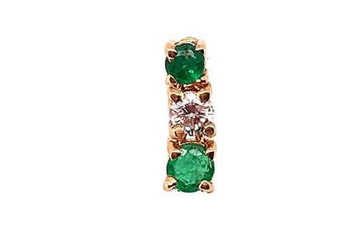 Emerald Diamond Single Screwback Earring .26ct 18K Yellow Gold
