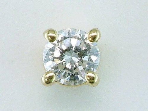 Genuine Diamond Jewelry Diamond .18ct Single Stud Earring Round Brilliant 14K Yellow Gold