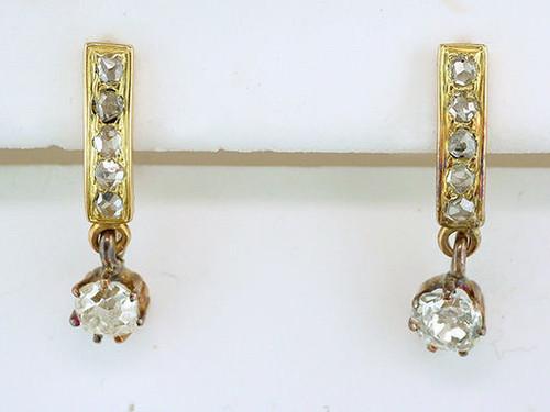 Antique Diamond Dangle Lever Back Earrings 3/4ct 14K Gold Victorian Vintage