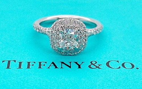 Tiffany and Co Soleste Engagement Ring 1.05ct F/VVS2 Cushion Halo Platinum