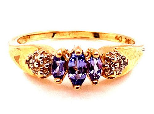 Tanzanite Diamond Cocktail Ring .50ct Three Stone Marquise Yellow Gold