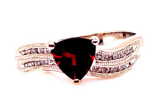 Rhodolite Garnet Diamond Cocktail Ring 1.25ct Birthstone Gemstone 14K White Gold