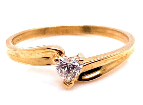 Solitaire Diamond Engagement Ring .35ct Heart Cut D/SI 14K Yellow Gold Friendship Ring