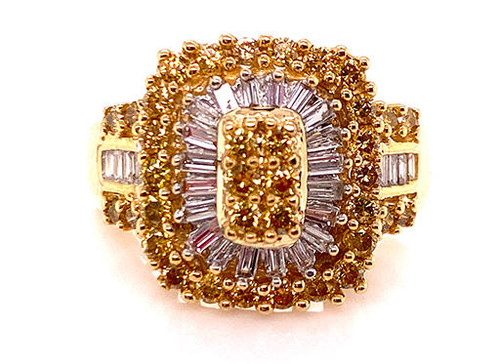 Fancy Yellow Diamond Cocktail Ring 1ct Round Baguette 14K
