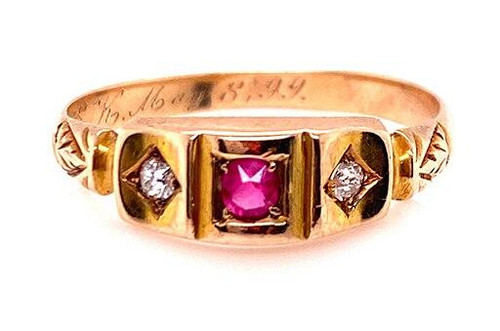Victorian Ruby Diamond Cocktail Ring .12ct Old Mine Cushion 14K Vintage Antique
