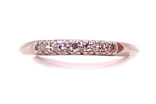 Vintage Diamond Wedding Ring Anniversary Band .20ct Platinum Antique Art Deco
