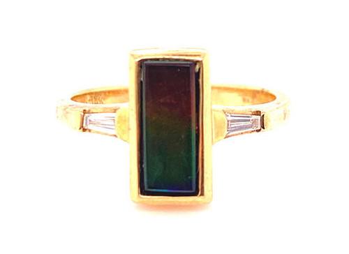Diamond Cocktail Ring Multi Color Gemstone 14K Yellow Gold