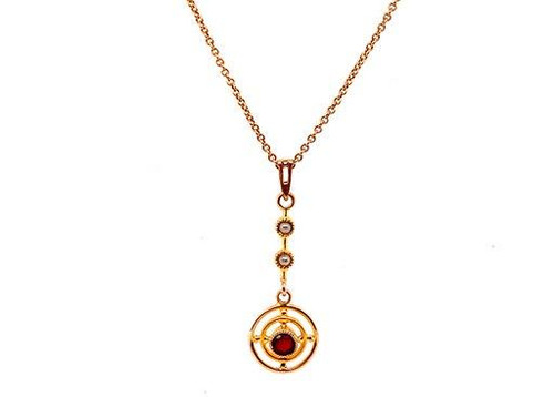 Vintage Lavalier Pendant Necklace .20ct Ruby Seed Pearl Antique Victorian 14K