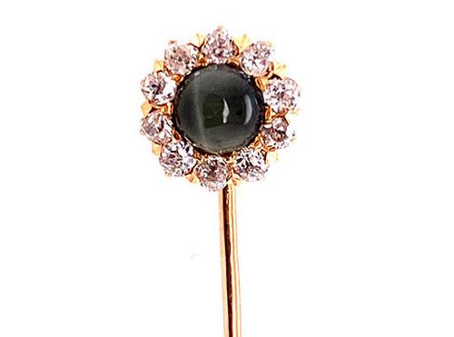 Edwardian Cats Eye Chrysoberyl Diamond Stick Pin .30ct Old Mine Cut 14K