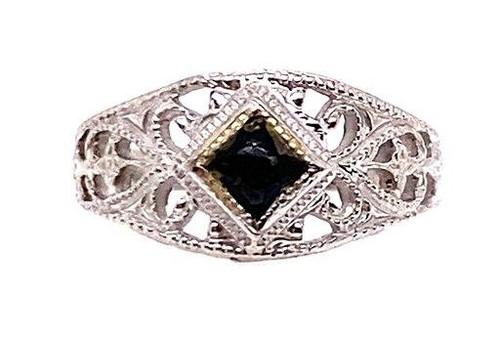 Vintage Sapphire Baby Ring White Gold Antique Art Deco Filigree
