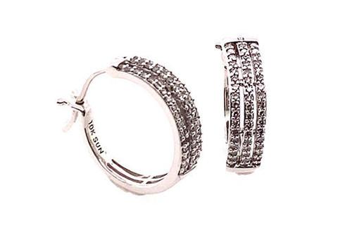 Diamond Huggie Hoop Earrings 1.00ct White Gold