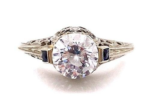 Vintage Sapphire Semi Mount Engagement Ring French Cut .16ct Antique Art Deco 18K
