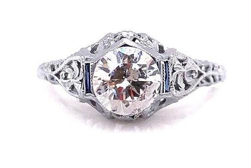 Vintage Sapphire Semi Mount Engagement Ring Flowers .20ct Antique Art Deco 18K