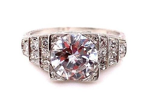 Vintage Diamond Semi Mount Engagement Ring .25ct Platinum Antique Art Deco